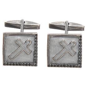 Manschettenknöpfe Silber 925 mit Kreuz 1,6x1,6cm weiss s1