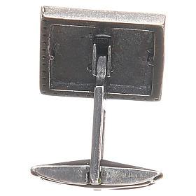 Manschettenknöpfe Silber 925 mit Kreuz 1,6x1,6cm weiss s2