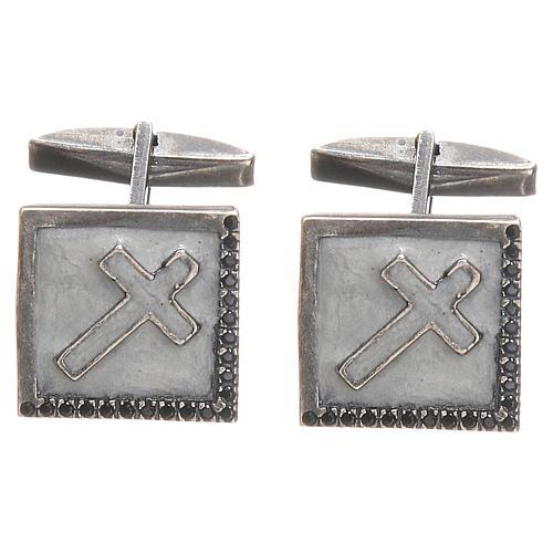 Manschettenknöpfe Silber 925 mit Kreuz 1,6x1,6cm weiss 1