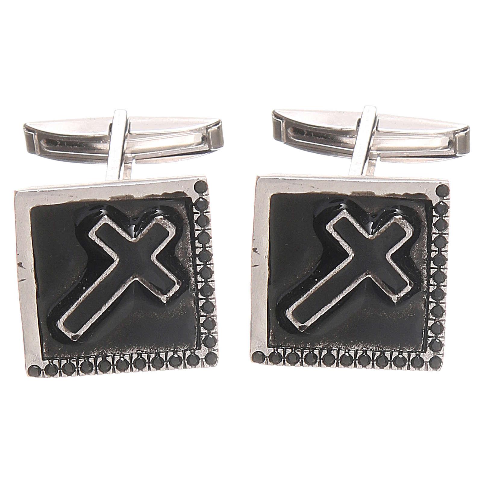 Boutons manchettes bijoux argent 800 Croix 1,6x1,6 cm 4