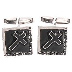 Boutons manchettes bijoux argent 800 Croix 1,6x1,6 cm s1