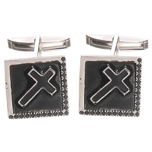 Boutons manchettes bijoux argent 800 Croix 1,6x1,6 cm 1