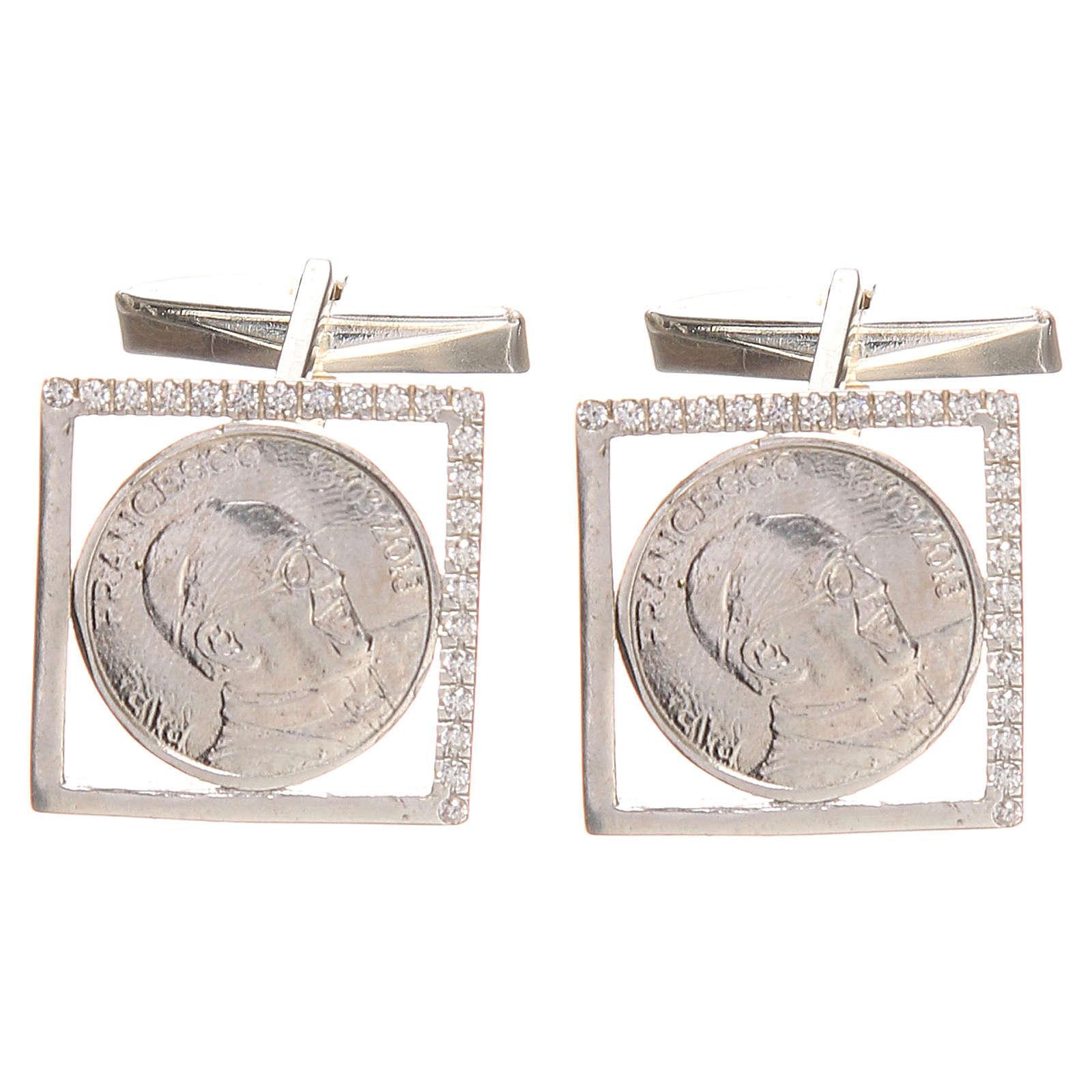 Gemelos joyas plata 800 rodiada Papa Francisco 1,8x1,8 cm 4