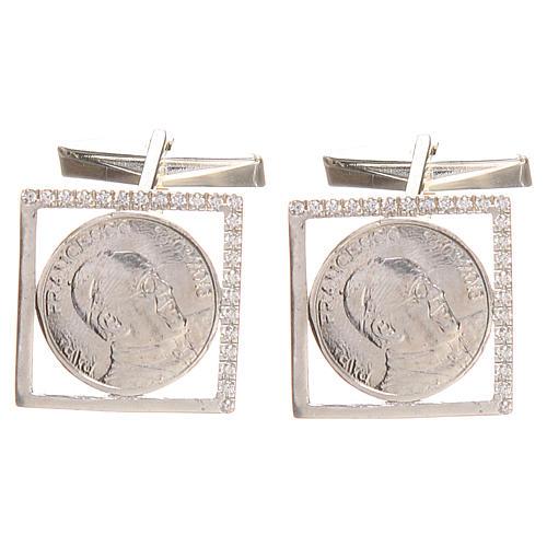 Gemelos joyas plata 800 rodiada Papa Francisco 1,8x1,8 cm 1