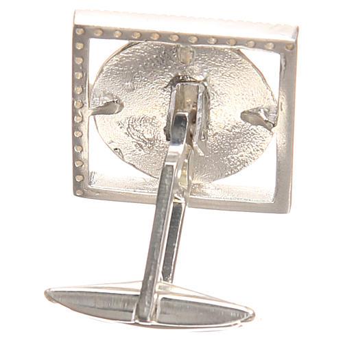 Gemelos joyas plata 800 rodiada Papa Francisco 1,8x1,8 cm 2
