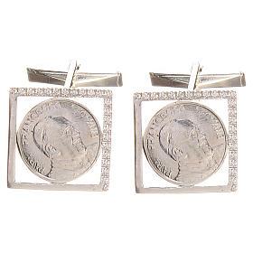Gemelli in argento 800 rodiato Papa Francesco 1,8x1,8 cm s1