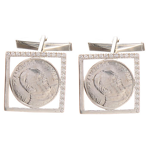 Gemelli in argento 800 rodiato Papa Francesco 1,8x1,8 cm 1