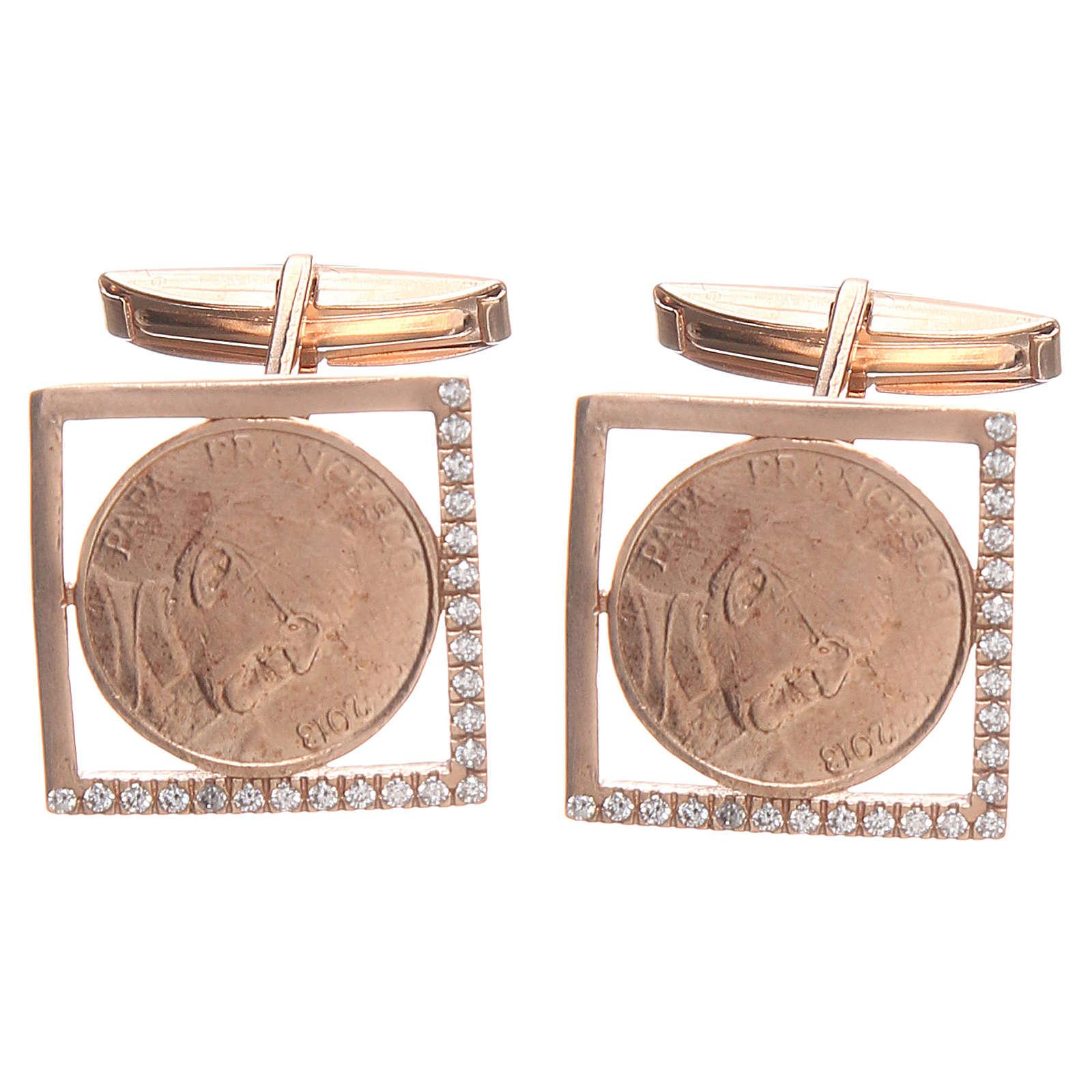 Cufflinks Silver 800 rosé, Pope Francis 1,8x1,8cm 4