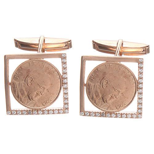 Cufflinks Silver 800 rosé, Pope Francis 1,8x1,8cm 1
