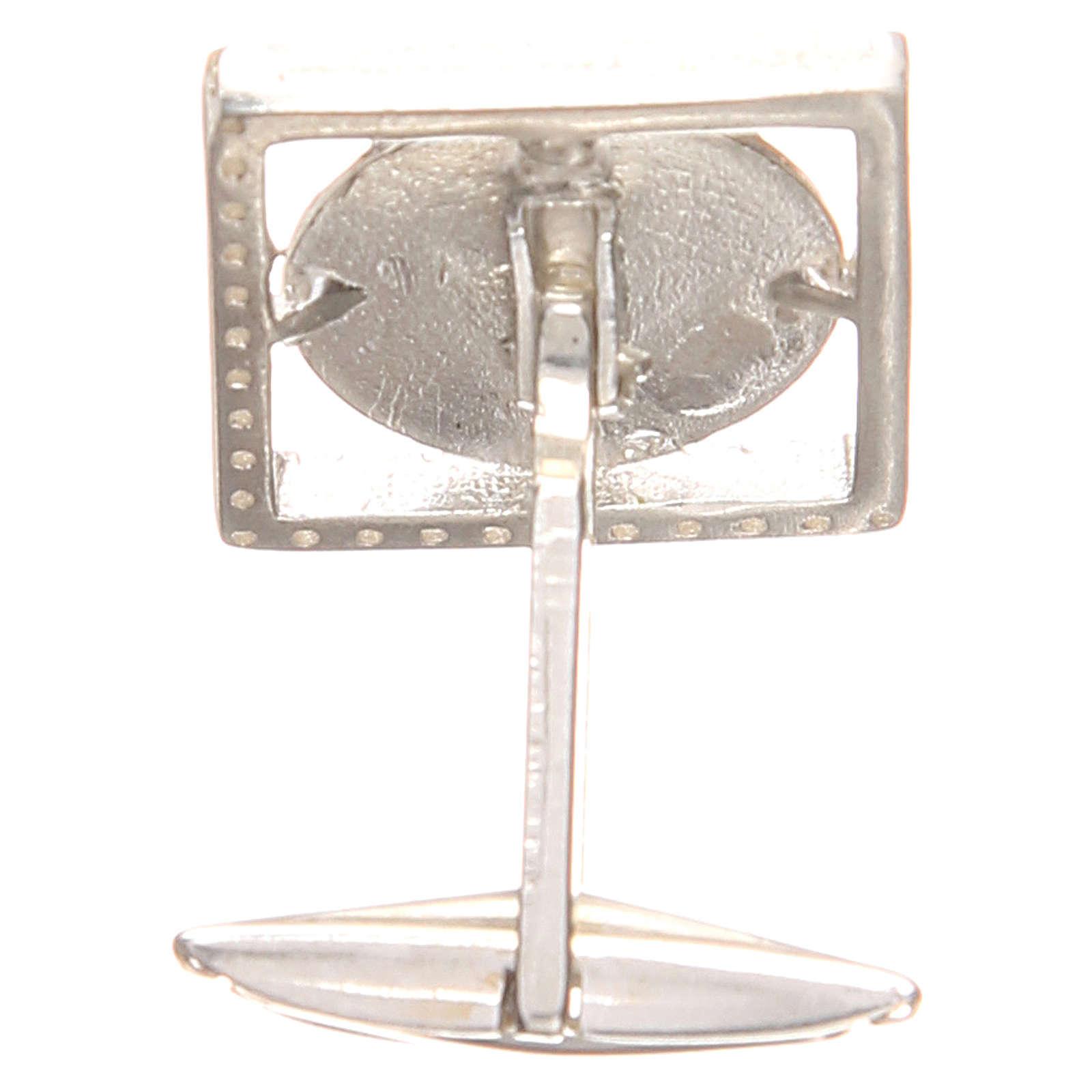 Gemelos joyas plata 925 rodiada San Antonio de Padua 1,7 x 1,7 cm 4