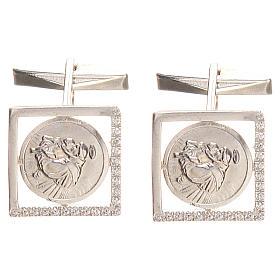 Gemelos joyas plata 925 rodiada San Antonio de Padua 1,7 x 1,7 cm s1
