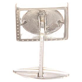 Gemelos joyas plata 925 rodiada San Antonio de Padua 1,7 x 1,7 cm s2