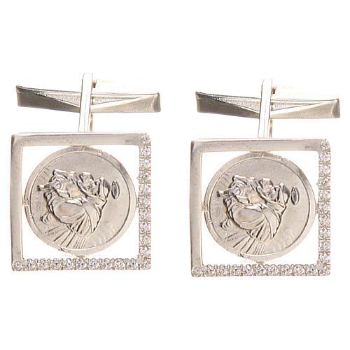 Gemelli gioielli argento 800 rod Sant'Antonio Padova 1,7x1,7 cm 1