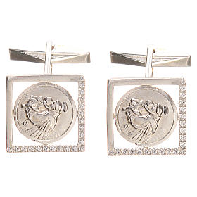 Cufflinks Silver 800 rhodium-plated, St. Anthony of Padua 1,7x1,7cm s1