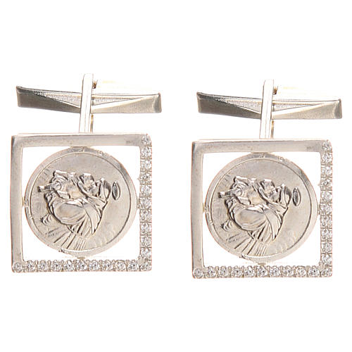 Cufflinks Silver 800 rhodium-plated, St. Anthony of Padua 1,7x1,7cm 1