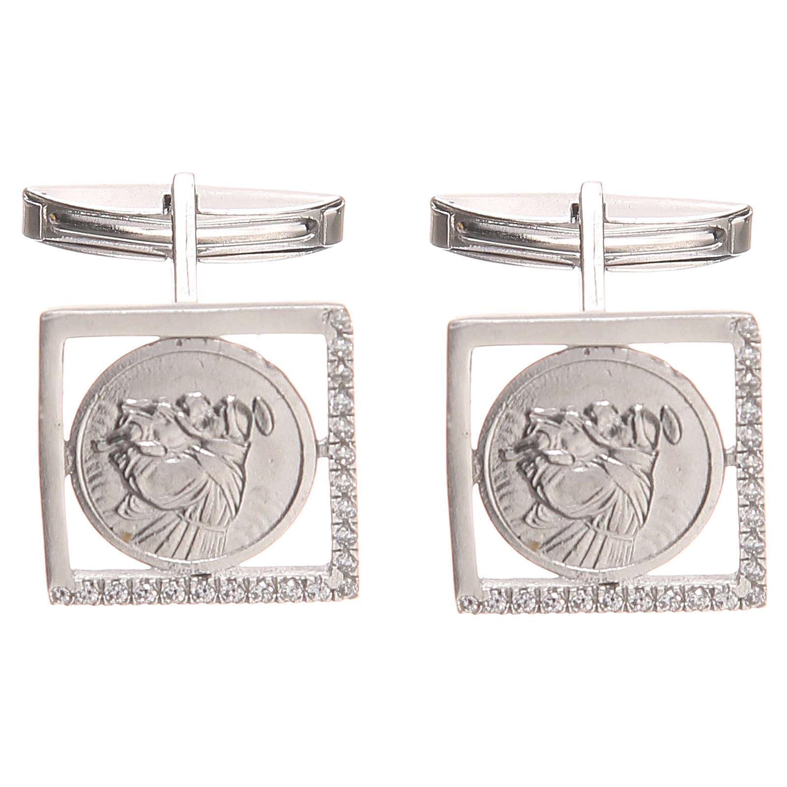Gemelli gioielli argento 800 naturale Sant'Antonio Padova 1,7x1,7 cm 4