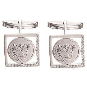 Gemelli gioielli argento 800 naturale Sant'Antonio Padova 1,7x1,7 cm s1