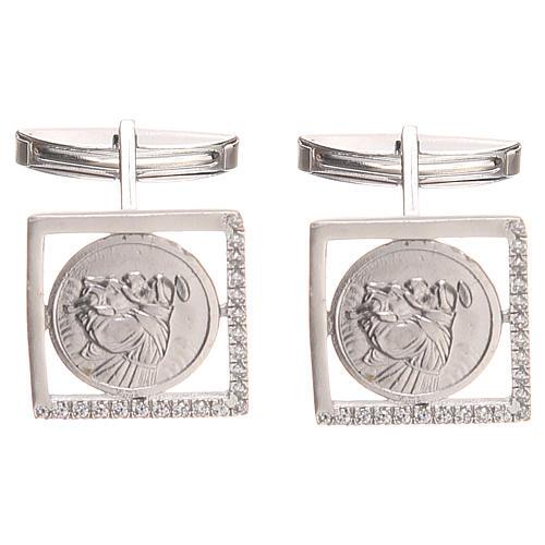 Gemelli gioielli argento 800 naturale Sant'Antonio Padova 1,7x1,7 cm 1