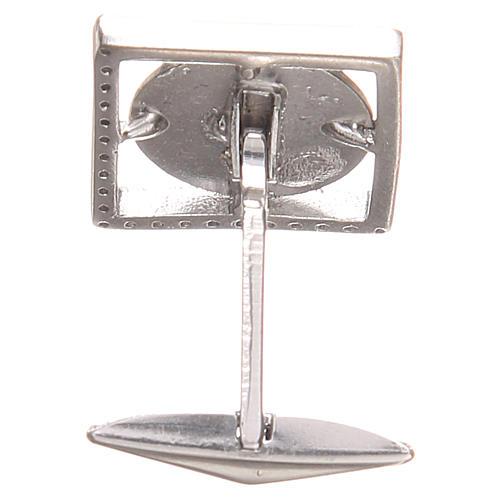 Gemelli gioielli argento 800 naturale Sant'Antonio Padova 1,7x1,7 cm 2