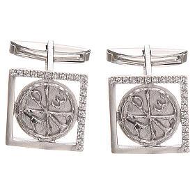 Spinki do mankietów: Spinki biżuteria srebro 925 symbol PAX 1.7x1.7 cm