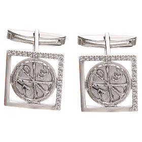Botões de Punho: Botões de punho jóia prata 925 símbolo Chi Rho 1,7x1,7 cm
