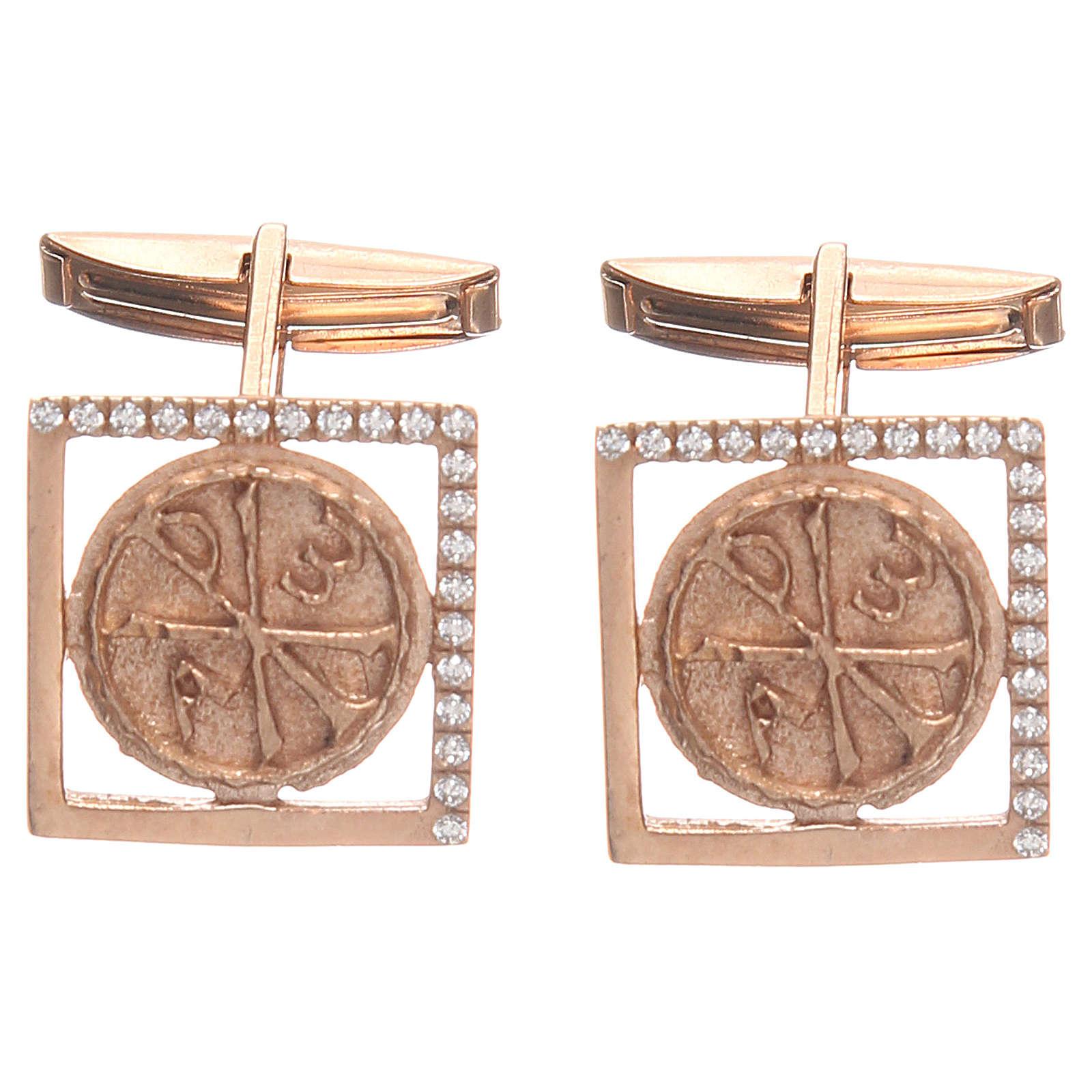 Gemelli gioielli argento 800 rosè simbolo PAX 1,7x1,7 cm 4