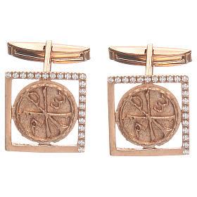Botões de Punho: Botões de punho jóias prata 800 rosé símbolo Chi Rho 1,7x1,7 cm