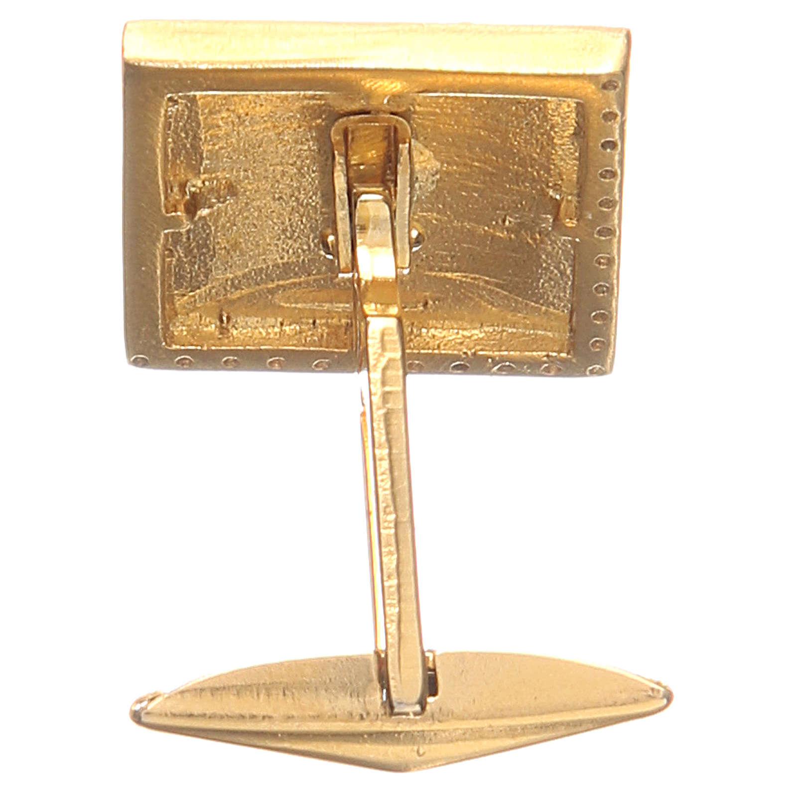 Boutons manchettes bijoux arg 800 doré Agnus Dei 1,7x1,7 cm 4