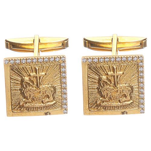 Boutons manchettes bijoux arg 800 doré Agnus Dei 1,7x1,7 cm 1
