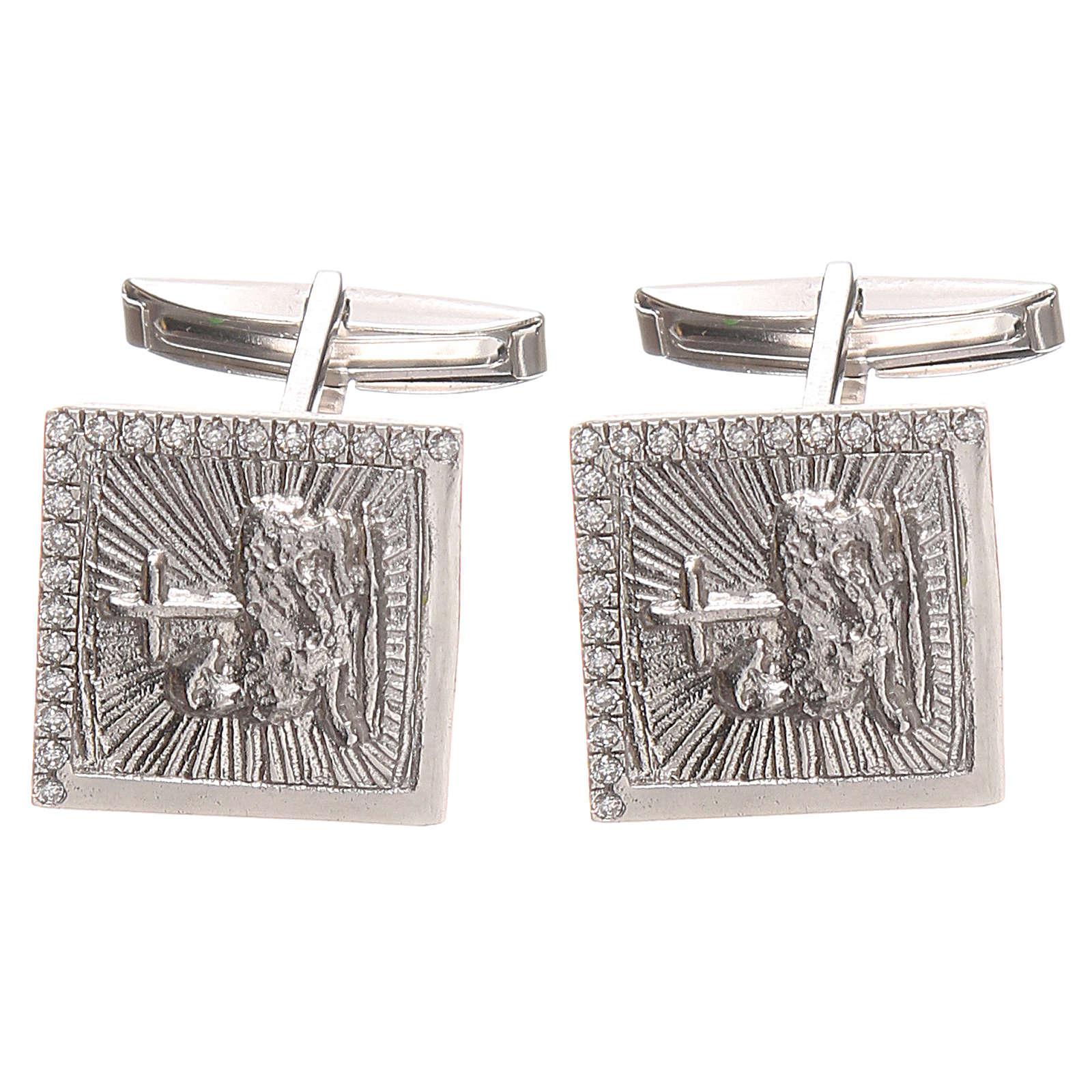 Boutons manchettes bijoux arg 800 Agnus Dei 1,7x1,7 cm 4