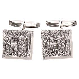 Boutons manchettes bijoux arg 800 Agnus Dei 1,7x1,7 cm s1