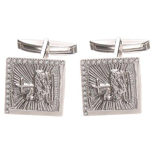 Boutons manchettes bijoux arg 800 Agnus Dei 1,7x1,7 cm 1