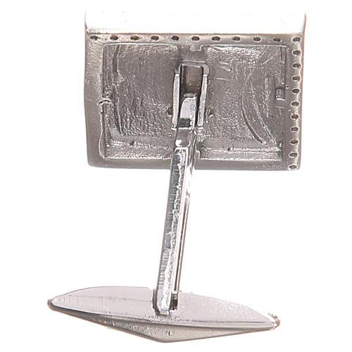 Boutons manchettes bijoux arg 800 Agnus Dei 1,7x1,7 cm 2