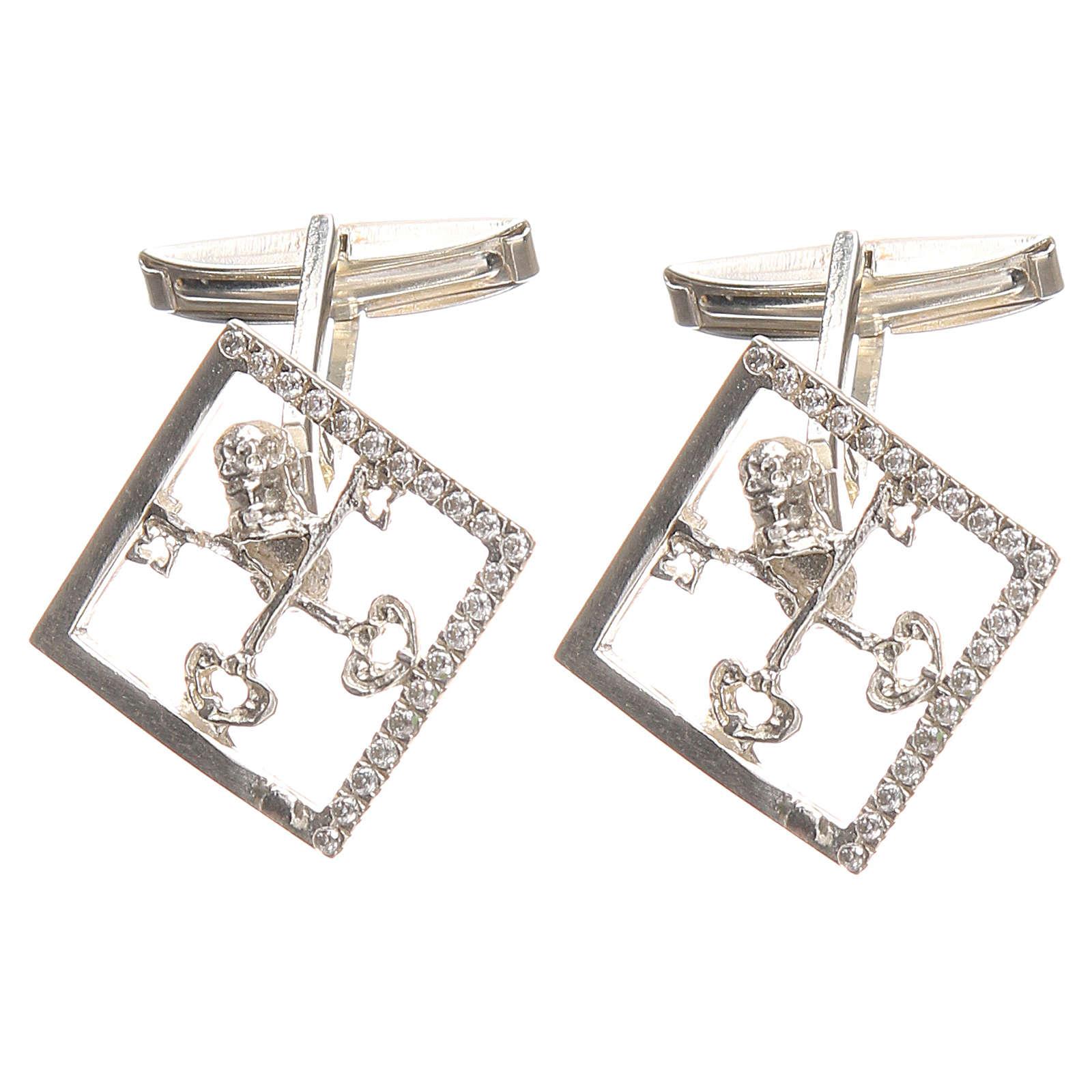 Boutons manchettes bijoux arg 925 rhodié Clés Vatican 1,7x1,7 cm 4
