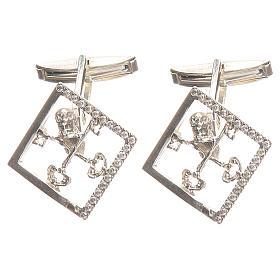 Boutons manchettes bijoux arg 925 rhodié Clés Vatican 1,7x1,7 cm s1