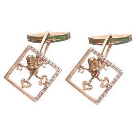 Manschettenknöpfe: Manschettenknöpfe rosa Silber 800 Schlüssel 1,7x1,7cm