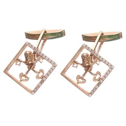 Cufflinks for shirts, Silver 800 rosé Vatican City keys 1,7x1,7cm 1