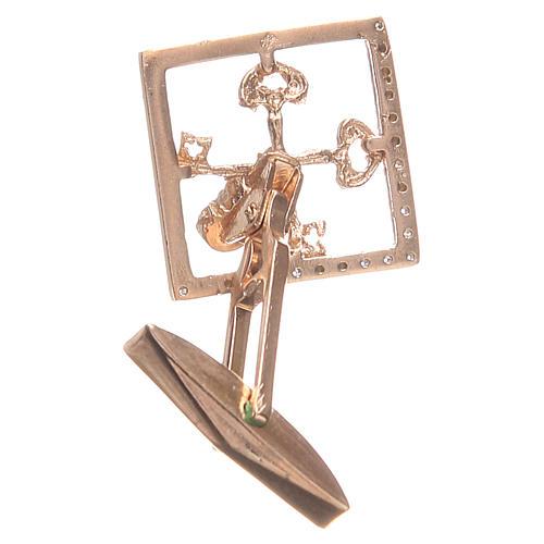 Cufflinks for shirts, Silver 800 rosé Vatican City keys 1,7x1,7cm 2