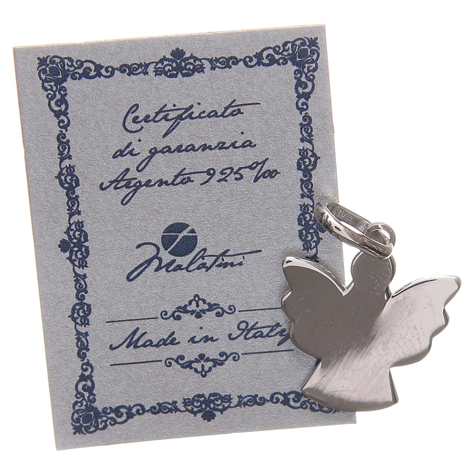 Ciondolo angelo argento 925 con preghiera angelo di Dio 1,7 cm 4