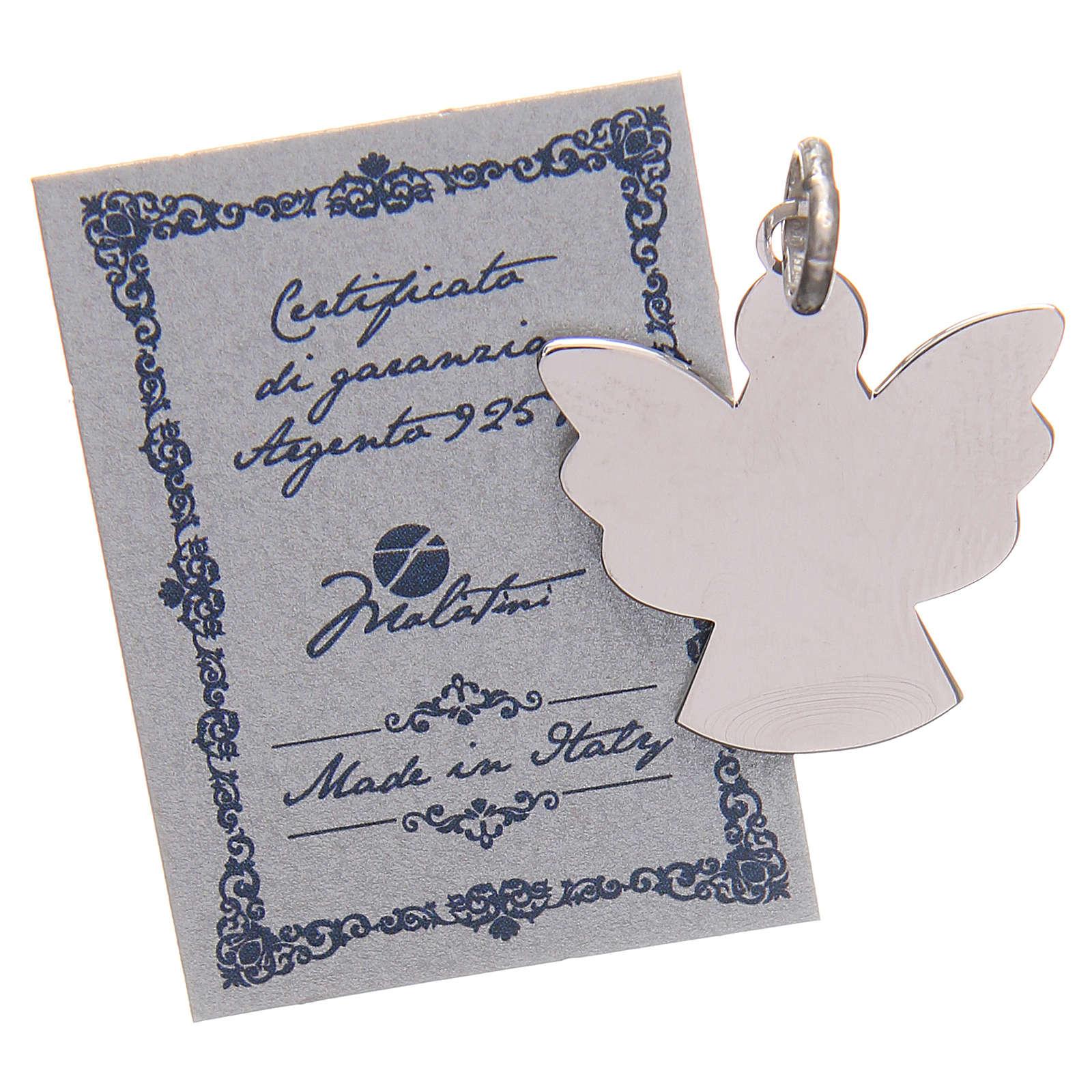 Ciondolo angelo argento 925 con preghiera angelo di Dio 2,2 cm 4