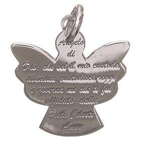 Ciondolo angelo argento 925 con preghiera angelo di Dio 2,2 cm s1