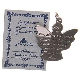 Ciondolo angelo argento 925 con preghiera angelo di Dio 2,7 cm s7
