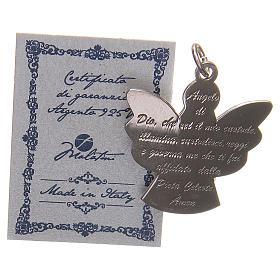 Ciondolo angelo argento 925 con preghiera angelo di Dio 2,7 cm s3