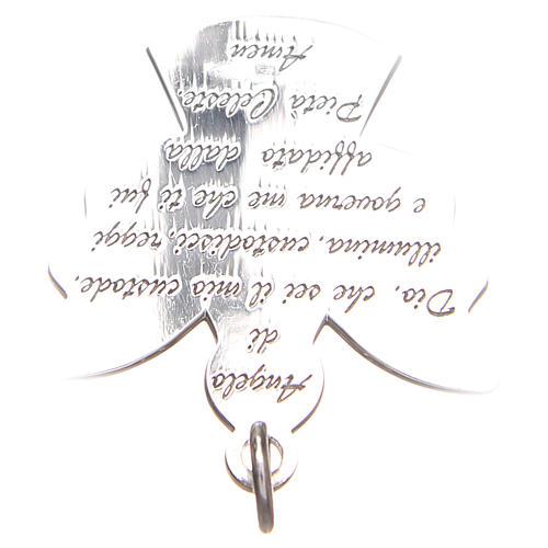 Ciondolo angelo argento 925 con preghiera angelo di Dio 2,7 cm 4