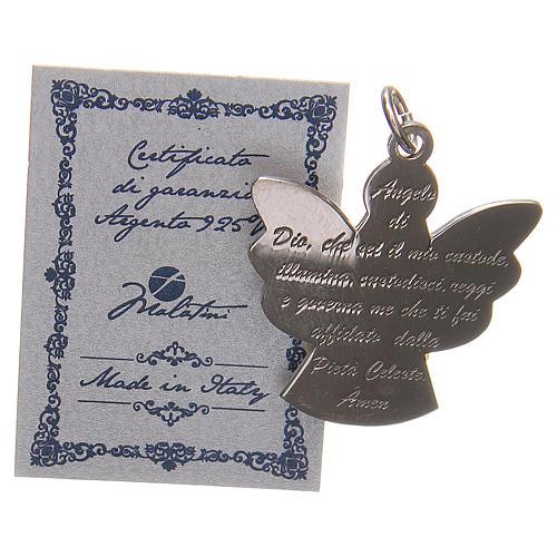 Ciondolo angelo argento 925 con preghiera angelo di Dio 2,7 cm 3