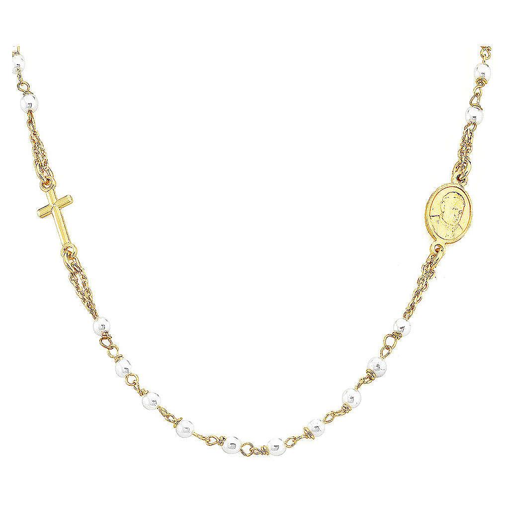 STOCK Collar rosario AMEN jubileo Plata 925 Swarovski dorado 4