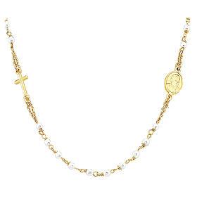 STOCK Collar rosario AMEN jubileo Plata 925 Swarovski dorado s1