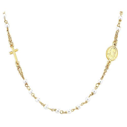 STOCK Collar rosario AMEN jubileo Plata 925 Swarovski dorado 1
