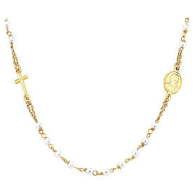 STOCK Rosary AMEN collar necklace Jubilee silver 925 Swarovski, Gold finish s1