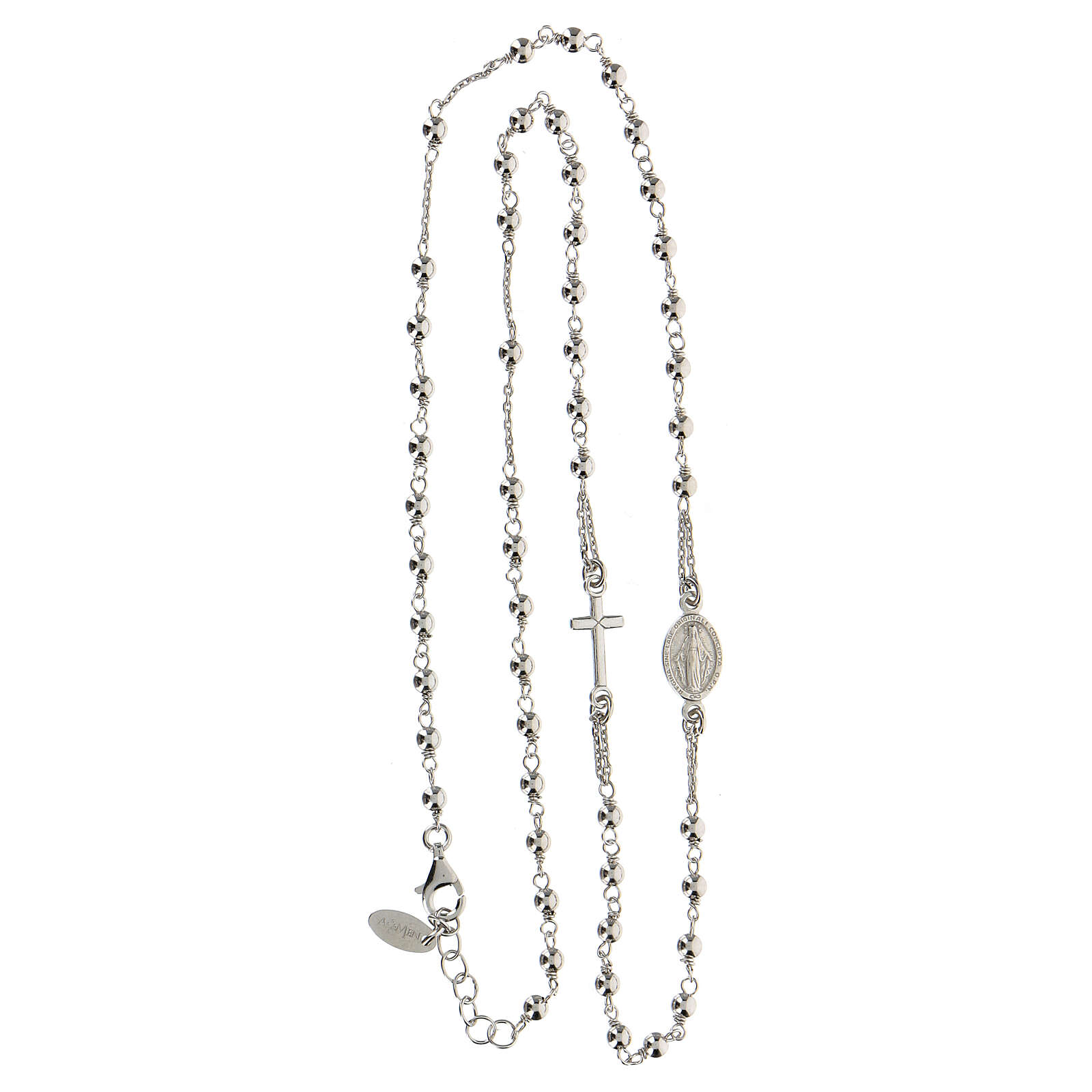 Collar rosario AMEN plata 925 rodio 4